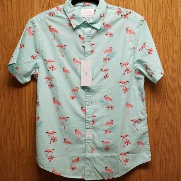 75b4f60339 DENIM   FLOWER Ricky Singh Slim Fit Flamingo Shirt